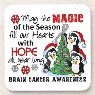 Christmas Penguins Brain Cancer Beverage Coaster