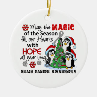 Christmas Penguins Brain Cancer Double-Sided Ceramic Round Christmas Ornament