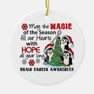 Christmas Penguins Brain Cancer Round Ceramic Decoration