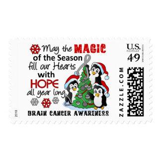 Christmas Penguins Brain Cancer Postage Stamp