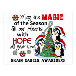 Christmas Penguins Brain Cancer Postcard