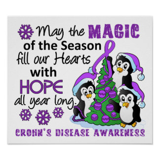 Christmas Penguins Crohn's Disease Posters