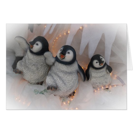 Christmas Penguins Dancing Card