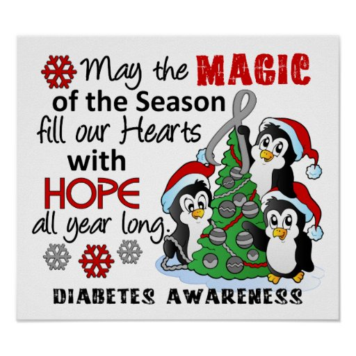 Christmas Penguins Diabetes Print
