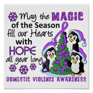 Christmas Penguins Domestic Violence Posters