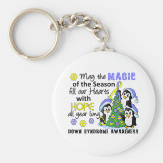 Christmas Penguins Down Syndrome Basic Round Button Key Ring