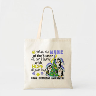 Christmas Penguins Down Syndrome Budget Tote Bag