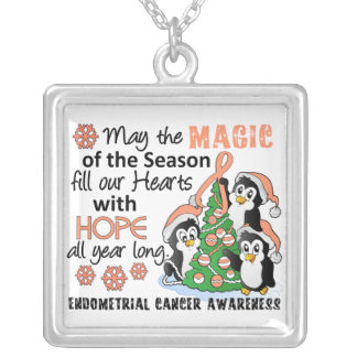 Christmas Penguins Endometrial Cancer Silver Plated Necklace
