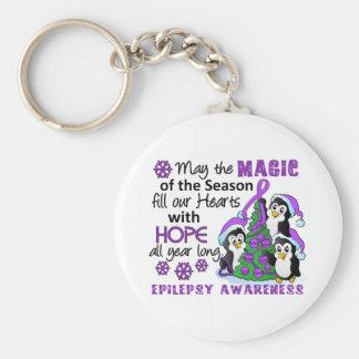 Christmas Penguins Epilepsy Basic Round Button Key Ring