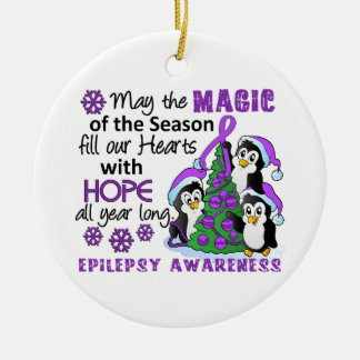 Christmas Penguins Epilepsy Round Ceramic Decoration