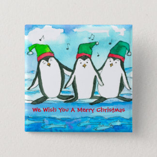 Christmas Penguins Fish Watercolor 15 Cm Square Badge