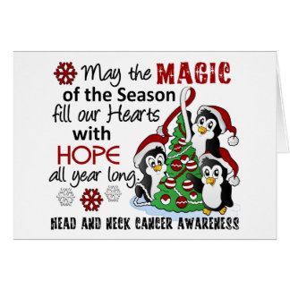 Christmas Penguins Head and Neck Cancer Greeting Card