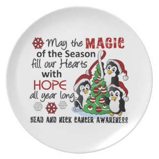 Christmas Penguins Head and Neck Cancer Plates