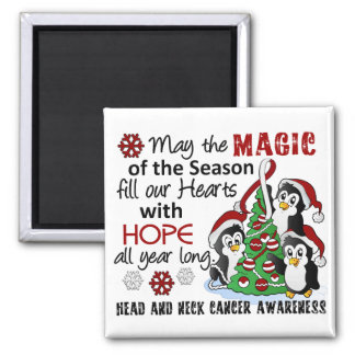 Christmas Penguins Head and Neck Cancer Square Magnet