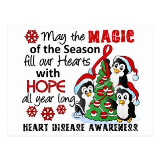Christmas Penguins Heart Disease Postcard