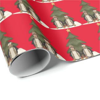 Christmas penguins Holiday wrapping paper