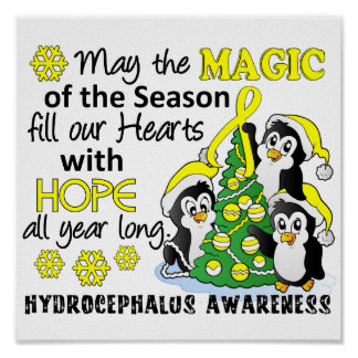 Christmas Penguins Hydrocephalus Poster