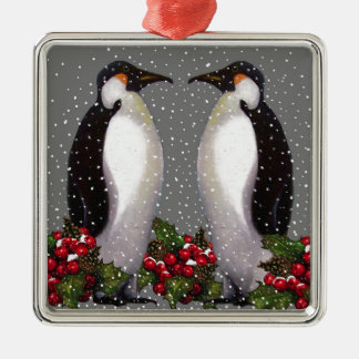 Christmas Penguins in Snow, Holly: Art Christmas Ornament