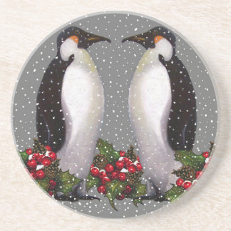 Christmas Penguins in Snow, Holly: Art Coaster