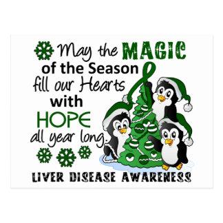 Christmas Penguins Liver Disease Postcard