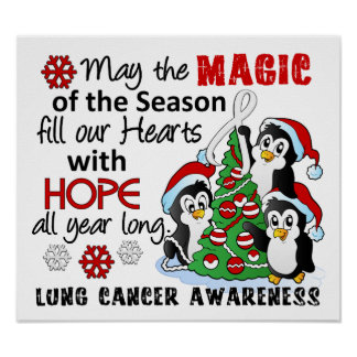 Christmas Penguins Lung Cancer Poster