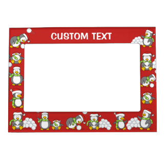 Christmas penguins magnetic picture frame