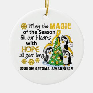 Christmas Penguins Neuroblastoma Round Ceramic Decoration