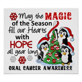 Christmas Penguins Oral Cancer Poster