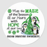 Christmas Penguins Organ Donation Round Stickers