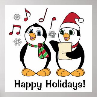 Christmas Penguins Singing Print