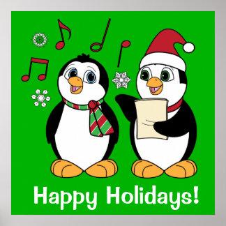 Christmas Penguins Singing Poster