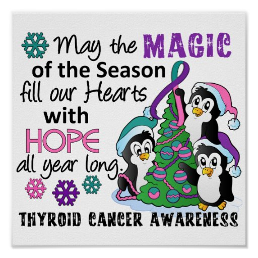 Christmas Penguins Thyroid Cancer Print