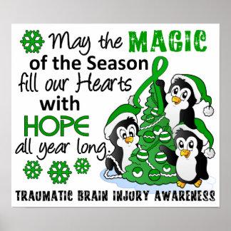 Christmas Penguins Traumatic Brain Injury TBI Poster