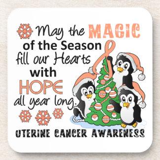 Christmas Penguins Uterine Cancer Beverage Coasters