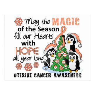 Christmas Penguins Uterine Cancer Postcard