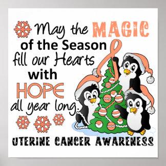 Christmas Penguins Uterine Cancer Print