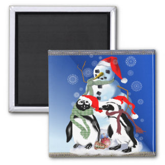 Christmas Penquin and Snowman Magnets