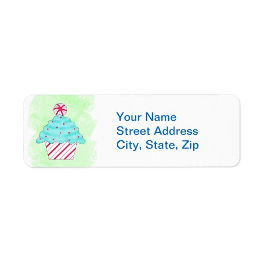 Christmas Pepperment Cupcake Green Custom Address