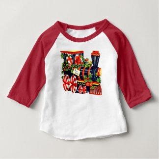 Christmas Peppermint Candy Choo Choo Train Baby T-Shirt