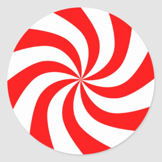 Christmas Peppermint Candy Classic Round Sticker