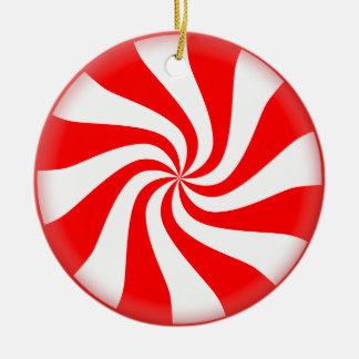 Christmas Peppermint Candy Round Ceramic Decoration
