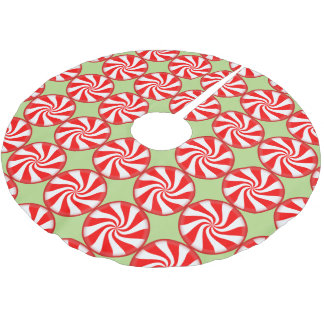 Christmas Peppermint Round Red White Striped Candy Brushed Polyester Tree Skirt