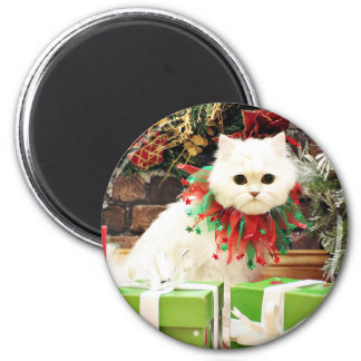 Christmas - Persian Cat - Toby 6 Cm Round Magnet