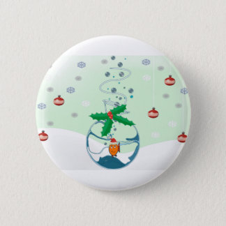 Christmas Pet Fish In a Bag Holly Emblelichments 6 Cm Round Badge