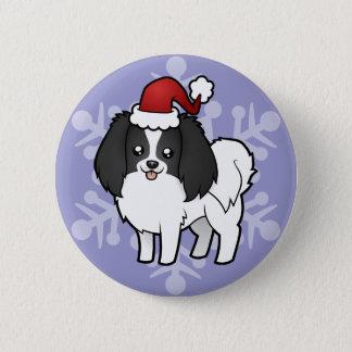 Christmas Phalene / Japanese Chin 6 Cm Round Badge