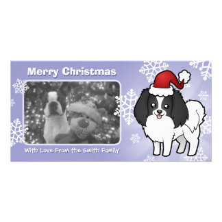 Christmas Phalene / Japanese Chin Custom Photo Card