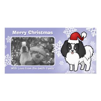 Christmas Phalene Japanese Chin Custom Photo Card