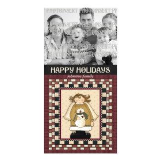 Christmas Photo Card - Angel Snowmen