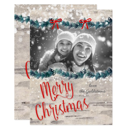 Christmas Photo Card Birch Bark Red Bow Yuletide