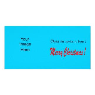 Christmas Photo Card Blue Background
